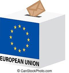 caixa, união, eleições, voto, poll, voto, europeu