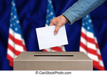 caixa, unidas, -, américa, estados, eleição, votando, voto