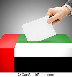 caixa, unidas, pintado, nacional, -, árabe, bandeira, emirates, voto