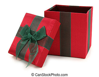 caixa, verde, tecido, presente, vermelho