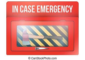 caixa vermelha, com, machado, caso emergência