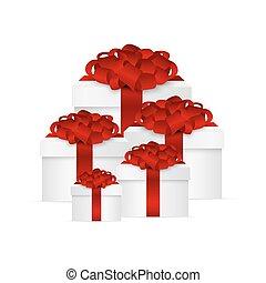 caixa, vermelho, cobrança, arco presente