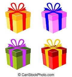 caixa, vetorial, jogo, coloridos, presente