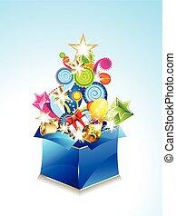 caixa, vetorial, magia, ilustração