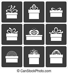 caixa, vetorial, presente, ícones