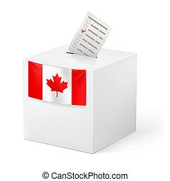 caixa, voicing, paper., canada., voto