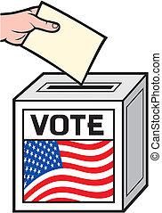 caixa, voto, ilustração, eua