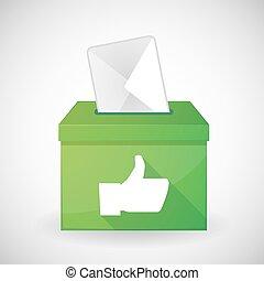 caixa, voto, polegar verde, mão