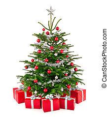 caixas, árvore, presente natal, deslumbrante