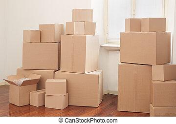caixas, apartamento, papelão