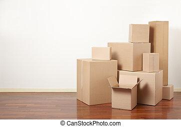 caixas, apartamento, pilha, papelão