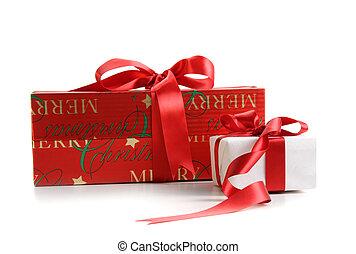 caixas, branca, isolado, presente, natal