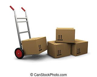 caixas, caminhão, mão
