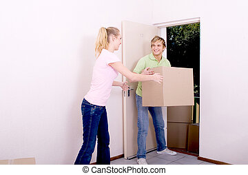 caixas, carregar, newlyweds