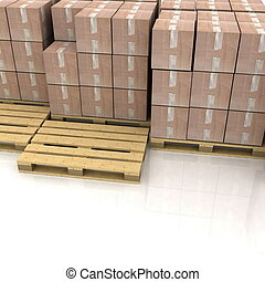 caixas cartão, ligado, madeira, pallets