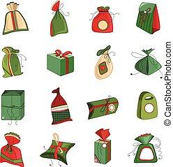 caixas, diferente, isolado, jogo, presente natal, branca