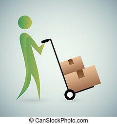 caixas, em movimento, ícone