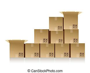 caixas, empilhado cima
