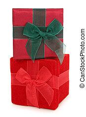 caixas, empilhado, tecido, presente