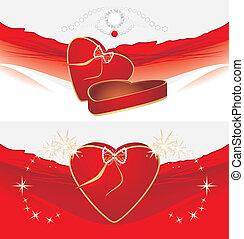 caixas, feriado, vermelho