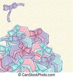 caixas, fita, desenho, seu, presente
