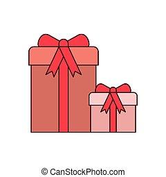 caixas, fita, isolado, presente, ícone