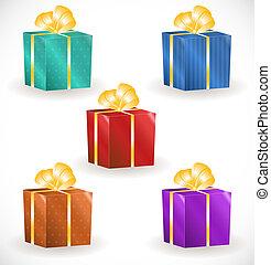 caixas, fitas, presente, ouro