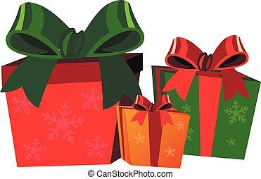 caixas, fundo branco, presente, natal