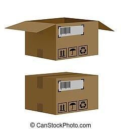 caixas, jogo, isolado, fundo, branca