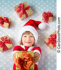 caixas, natal, criança