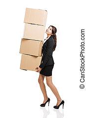 caixas, negócio mulher, cartão