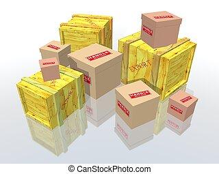 caixas, pacotes