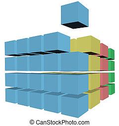 caixas papelão, cubos, quebra-cabeça, cores, caixas, filas,...