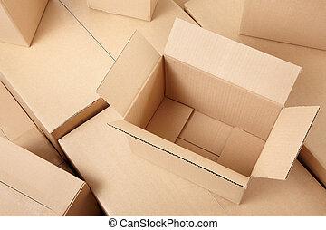 caixas, papelão, fundo