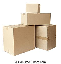 caixas, papelão, pilha, pacote
