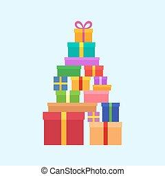 caixas, pilha, natal