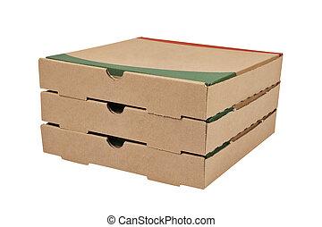 caixas, pizzas, três