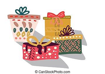caixas, presente, fita