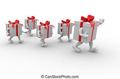 caixas, presente, fita vermelha