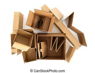 caixas, topo, papelão, vista