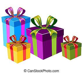 caixas, vetorial, coloridos, presente