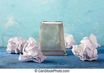 cajón, around., dispersado, cima, text., invertido, hermoso, papel, lugar, lata, plano de fondo, papeles, basura, bottom., vacío