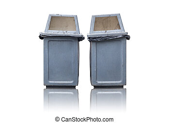 cajón, basura, dos, aislado, plano de fondo, blanco