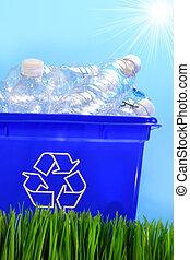 cajón, botellas, contenedor reciclaje