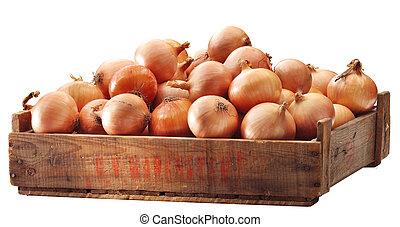 cajón, cebollas, marrón