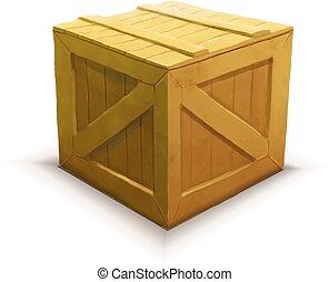 cajón, de madera, aislado, amarillo, realista, blanco, icono
