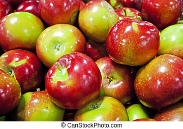 cajón, manzanas, mercado