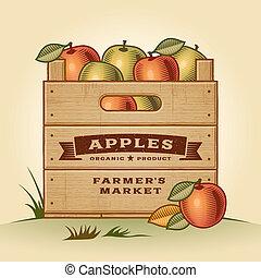 cajón, manzanas, retro