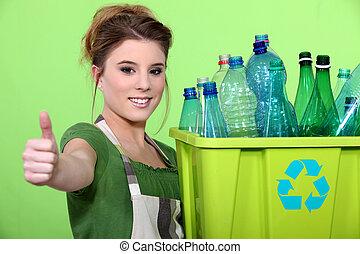 cajón, mujer, botellas, tenencia, plástico