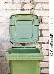 cajón, pared, verde, sucio, reciclar, ladrillo, vacío